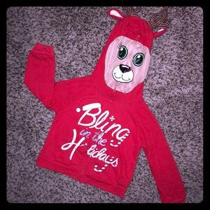 Justice Xmas  Zip Up Hoodie W/h Jingling Antlers